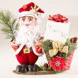 Stock Photo: SantClaus with Basket, Parcel and Fir