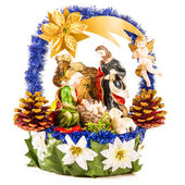 Christmas Crib in the Form of Ornamented Basket — Stock Photo