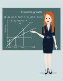 Crecimiento económico de la presentación de la mujer de negocios — Vector de stock