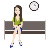 Melancholy woman wait — Stock Vector