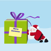 Santa move a great gift — Stock Vector