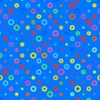 Blue background fabric with colored circles seamless pattern — Vector de stock