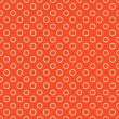 Orange background fabric with white circles seamless pattern — Vector de stock