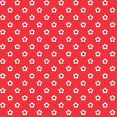 Red background, white flowers seamless pattern, fabric texture — Stock Vector