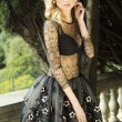Attractive blonde beauty posing in dress. — Stock Photo #45755279