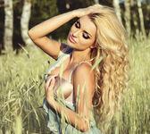 Portrait of beautiful delicate blonde woman — Stock Photo