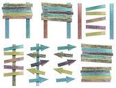 Sinais de madeira velho grunge — Fotografia Stock