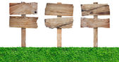 Wood sign with grass — Stock Photo