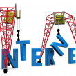 Stock Photo: 3d illustration of cranes building internet sign