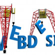 Stock Photo: 3d illustration of cranes building website sign