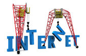 3d illustration of cranes building internet sign — Stock Photo