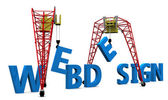 3d illustration of cranes building website sign — Stock Photo