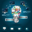 Technology business software and social media computer networking service concept, Creative light bulb with cloud of colorful application icon — Stock Vector #37313425