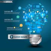 Bombilla creativa con la tecnología de red de negocios diagrama de procesos concepto idea — Vector de stock