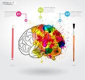 Creativity brain, Vector illustration template design — Stock Vector