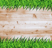 Ecological concept of grass with wood — Stock Vector