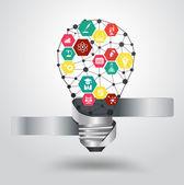 Vector light bulb idea hexagon modern design template — Stock Vector