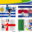 Soccer football players, Brazil 2014 group D Vector illustration — Stock Vector