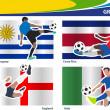Soccer football players, Brazil 2014 group D Vector illustration — Stock Vector