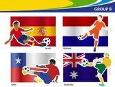Futbol futbolcular, Brezilya 2014 grubu b vektör çizim — Stok Vektör