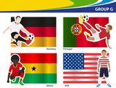 Soccer football players, Brazil 2014 group G Vector illustration — Stock Vector