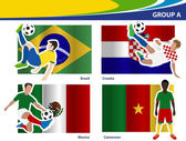 Soccer football players, Brazil 2014 group A Vector illustration — Stock Vector
