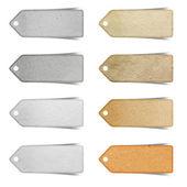 Značka papír řemesla se drží na bílém pozadí — Stock fotografie