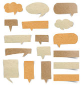 Brown Paper speech bubbles stick on white background — Stock Photo