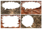 Porous wall set for speech bubble  background — Stock Photo