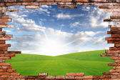 Old wall and blue sky with green grass . Uneven diffuse lighting version. Design component — Stock Photo