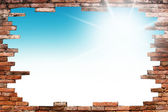 Old wall and blue sky . Uneven diffuse lighting version. Design component — Stock Photo