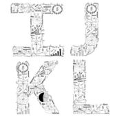 Drawing business strategy plan concept idea of alphabet letters I J K L — Photo