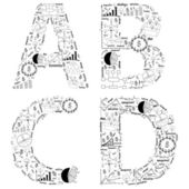 Drawing business strategy plan concept idea of alphabet letters  a b c d — Photo