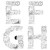 Drawing business strategy plan concept idea of alphabet letters  e f g h — Zdjęcie stockowe