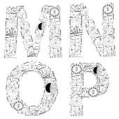 Rysunek planu strategii biznesowej koncepcji pomysł liter alfabetu mnop — Zdjęcie stockowe