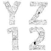 Drawing business strategy plan concept idea of alphabet letters  y z 1 2 — Foto de Stock