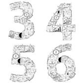 Drawing business strategy plan concept idea of alphabet letters 3 4 5 6 — Photo