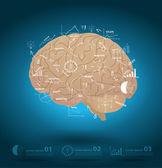 Creatieve hersenen met het opstellen van business strategie plan concept idee — Stockvector