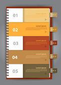 Notizpapier, modernes design-vorlage für infografiken nummeriert — Stockvektor