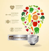 Creative light bulb idea with with fruits and vegetables healthy food icons — Stock Vector