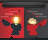 Conceito criativo com cérebro de bulbo de mão aberta, vetor modelo moderno de design — Vetorial Stock