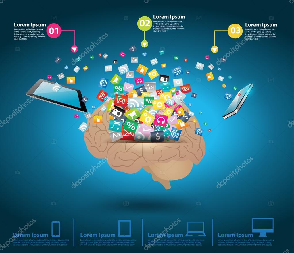 Computer Brain Icon Icon With Brain Idea