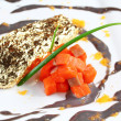 Salmon fillet in cream sauce caviar — Stock Photo #43013009