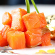 Salmon fillet in cream sauce caviar — Stock Photo