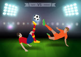 Two football players in jump to strike the ball — Stockvektor