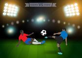 два футболиста в прыжке ударить мяч — Cтоковый вектор