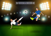Two football players in jump to strike the ball — Stock Vector