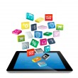 Tablet PC with cloud of colorful application icons — Stock Photo #43271401