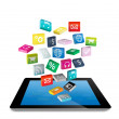 Tablet PC with cloud of colorful application icons — Stock Photo