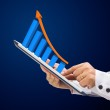 Graph growth on a tablet with in Business woman hand — Stock Photo #43271651